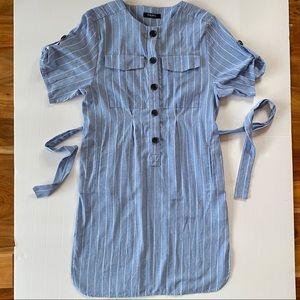 100% Cotton CAARA belted Shirt Dress Short Sleeve